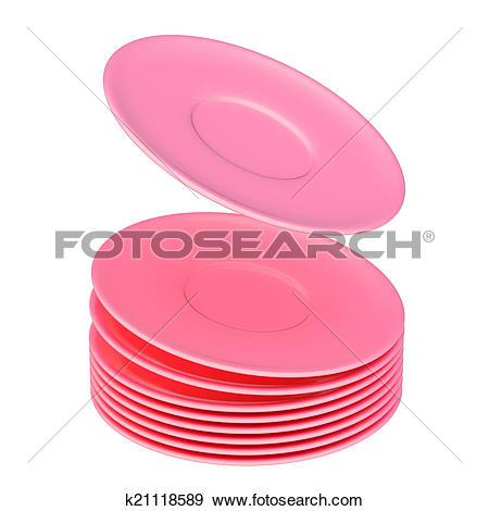 Stock Illustration of Dynamic pile of ceramic plates isol.