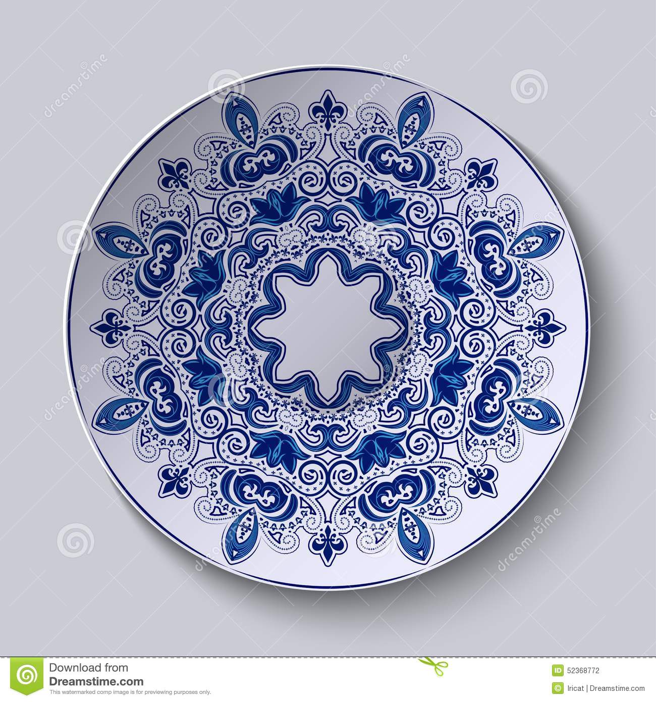 Blue Decorative Ornament. Pattern Is Applied On A Ceramic Plate.
