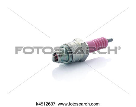 Picture of Old pink ceramic and steel spark plug isolated on white.