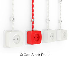 Clip Art of red electric plug and power outlet isolated on white.