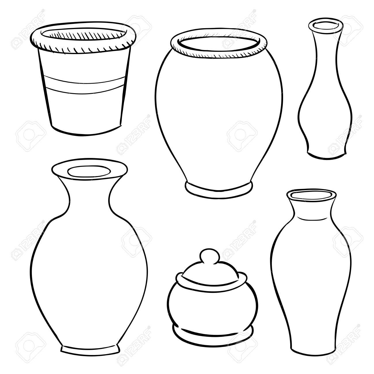 Ceramic pots Line Drawn Vector Illustration set.
