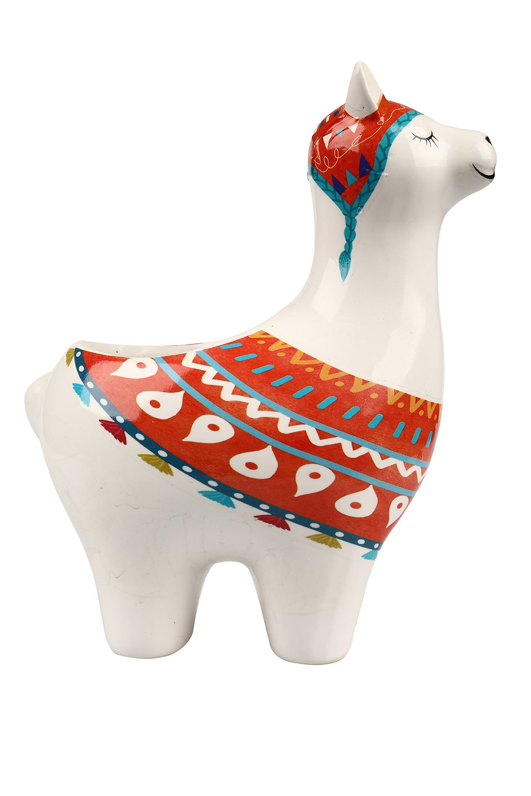 Small Orange Llama Ceramic Pot.