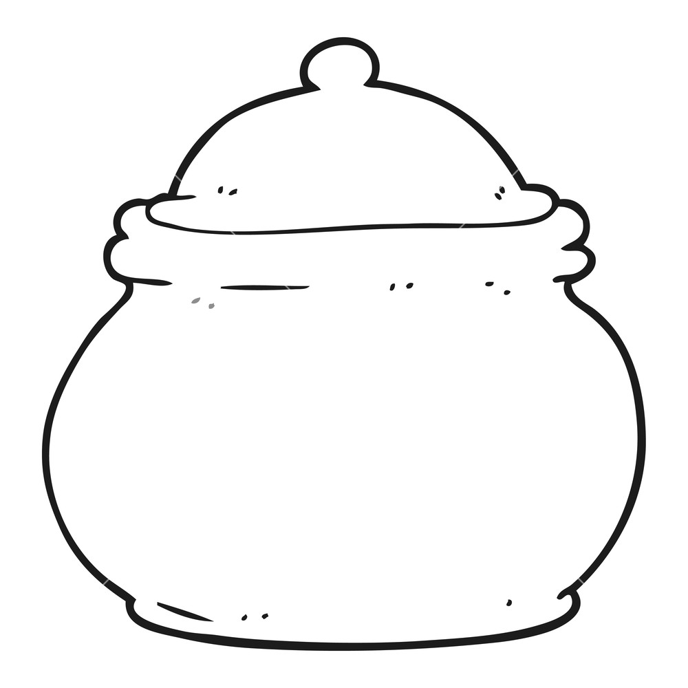 freehand drawn black and white cartoon old style ceramic pot Royalty.
