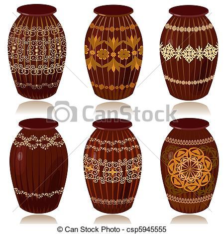 Clipart Vector of Decorative ceramic vases csp5945555.