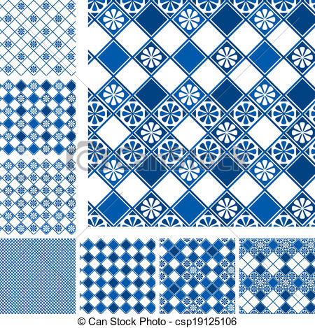 Vector Clipart of Set of seamless patterns.