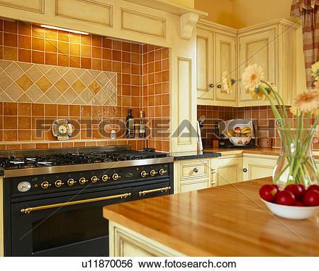 Stock Images of Terracotta ceramic wall tiles above black range.