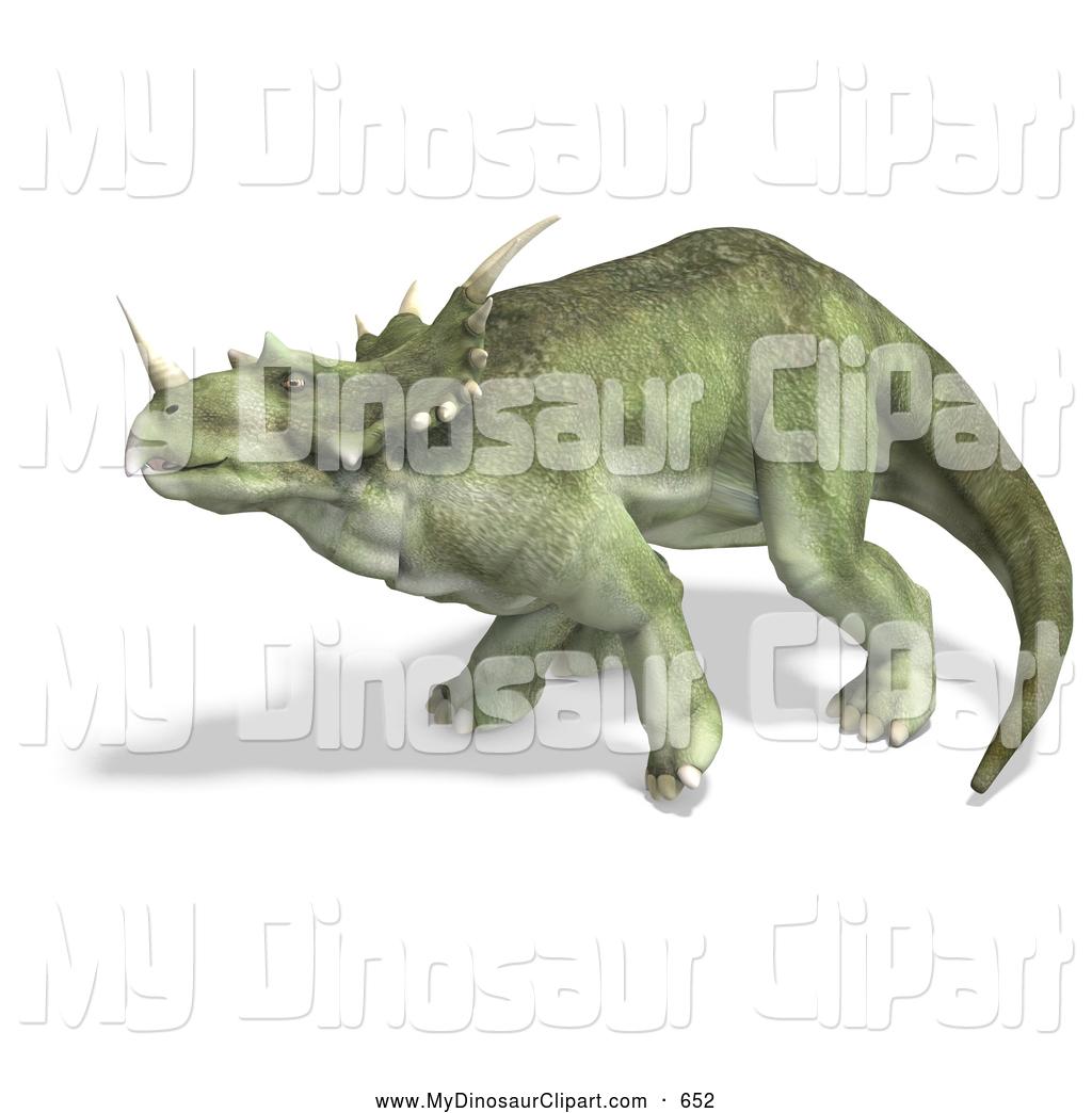 Clipart of a 3d Prehistoric Ceratopsian Styracosaurus Dinosaur in.