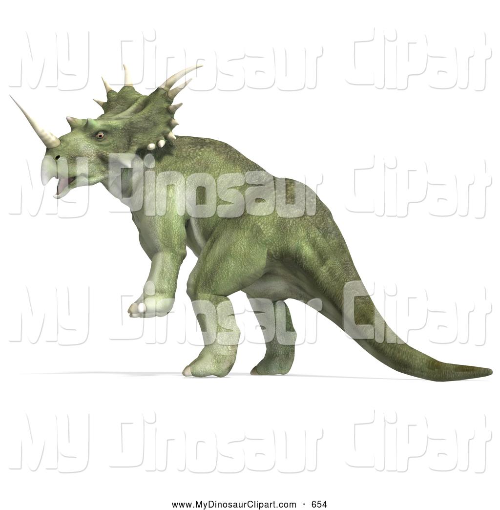 Clipart of a Green 3d Prehistoric Ceratopsian Styracosaurus.