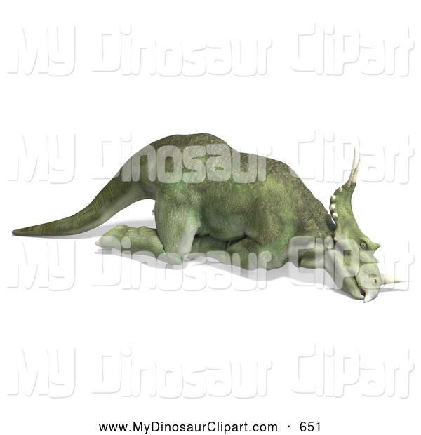 Clipart of a 3d Green Prehistoric Ceratopsian Styracosaurus.
