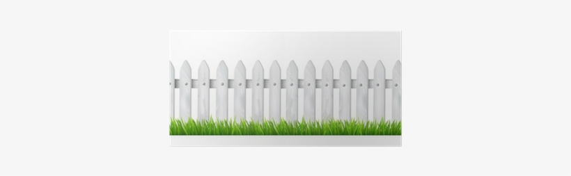 Background With A White Wooden Fence With Grass.
