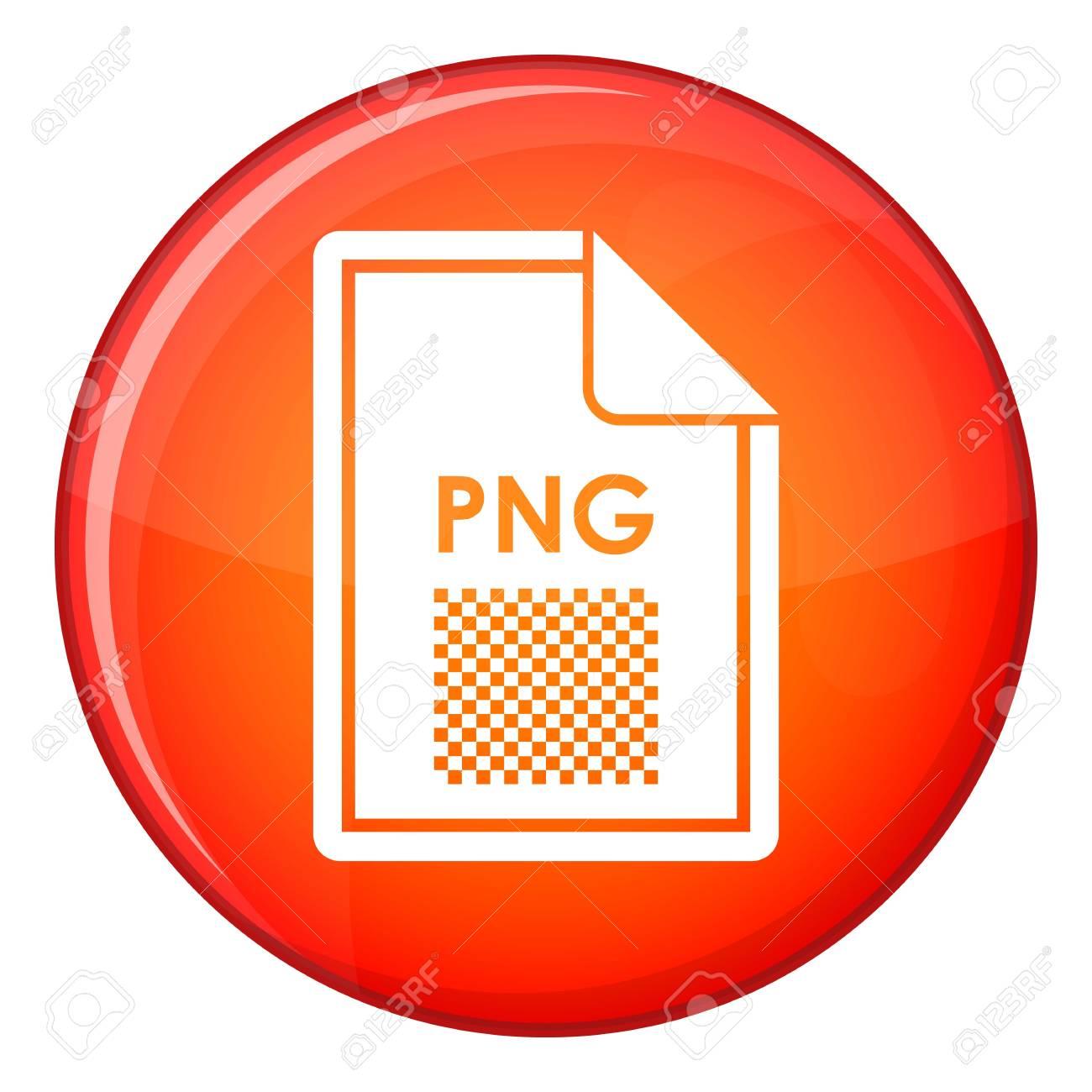 Icône de fichier PNG dans le cercle rouge isolé sur illustration  vectorielle fond blanc.