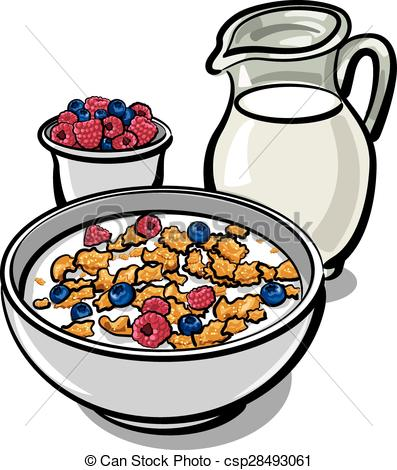 Clip Art Vector of cereals and milk.