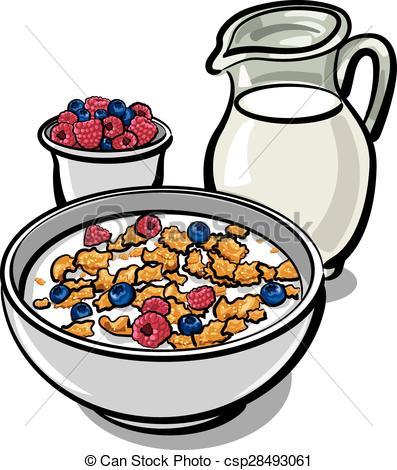 Clip Art Vector of cereals and milk.