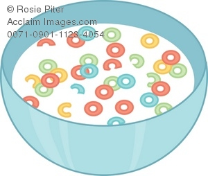 "Clip Art Illustration of a Bowl of Fruity ""O"" Shaped Cereal."