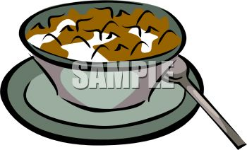 Flake Cereal in a Bowl of Milk Clip Art.