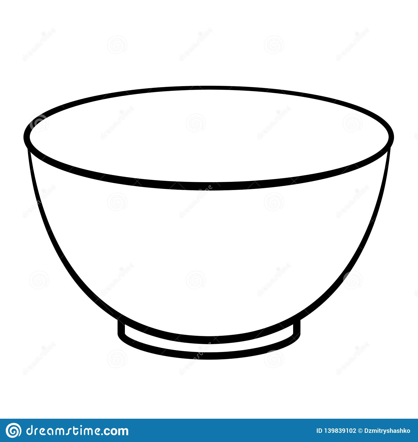 Empty Cereal Bowl Outline Icon Stock Vector.