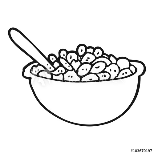 black and white cartoon bowl of cereal.