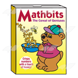 Mathbits Cereal Box, with bear on front.