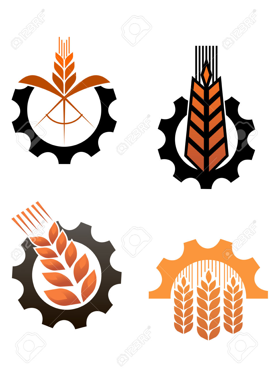 Agriculture Icons With Cereal Grains And Industrial Gears Royalty.