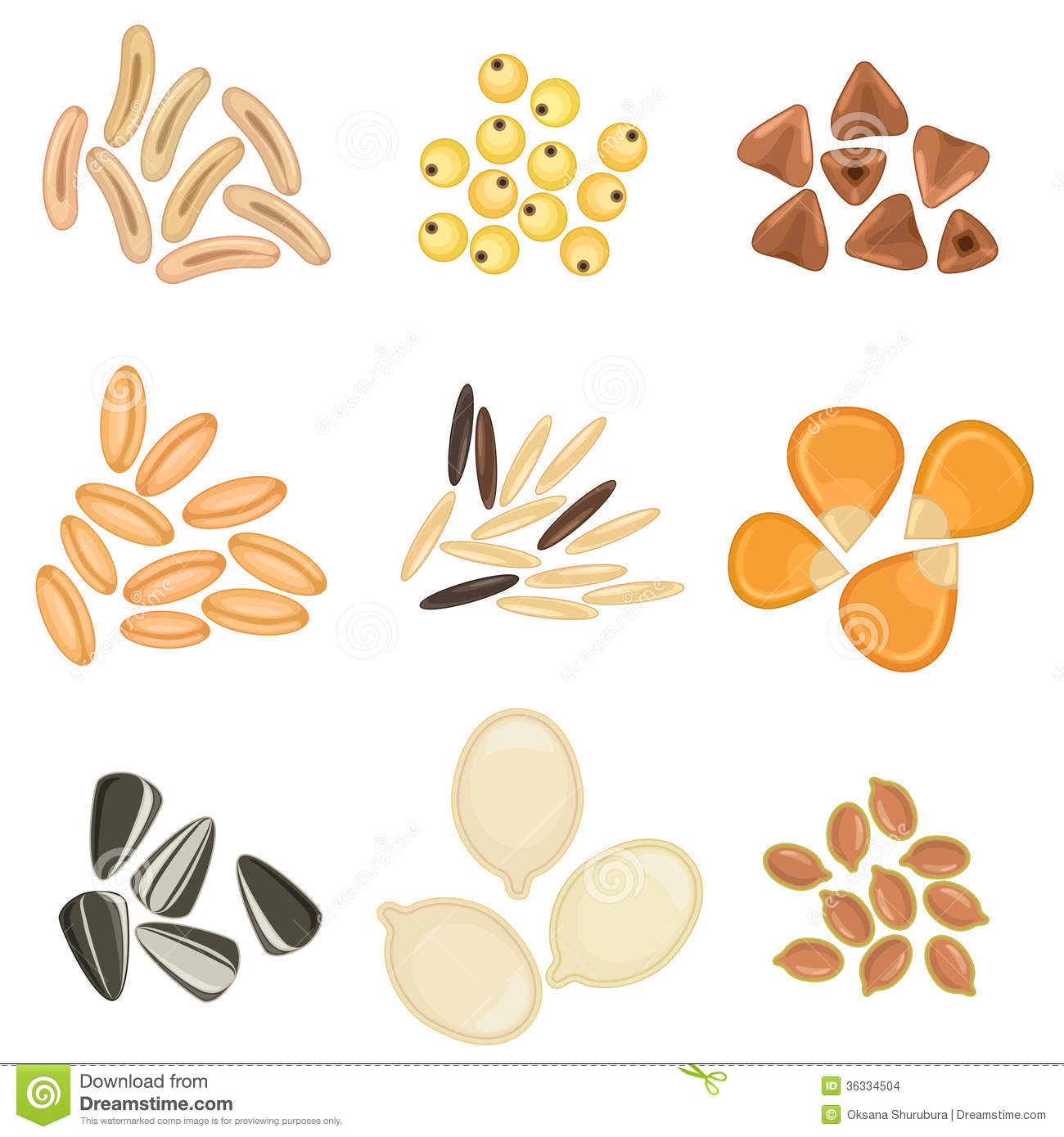 Cereals Grains Icon Set Stock Images.