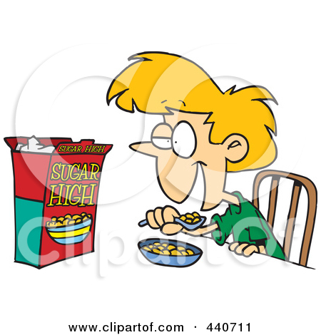 Man and woman eating cereals clipart.