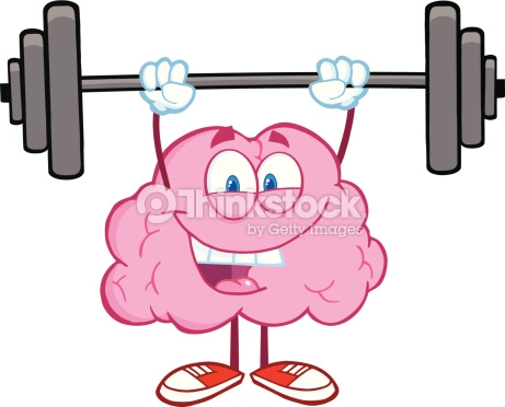 Happy Brain Lifting Weights Vector Art.