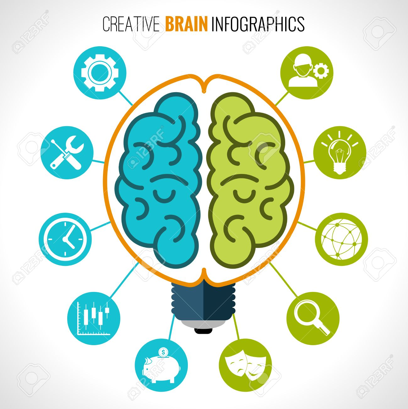 Creative Brain Infographics Set With Hemispheres In Lightbulb.
