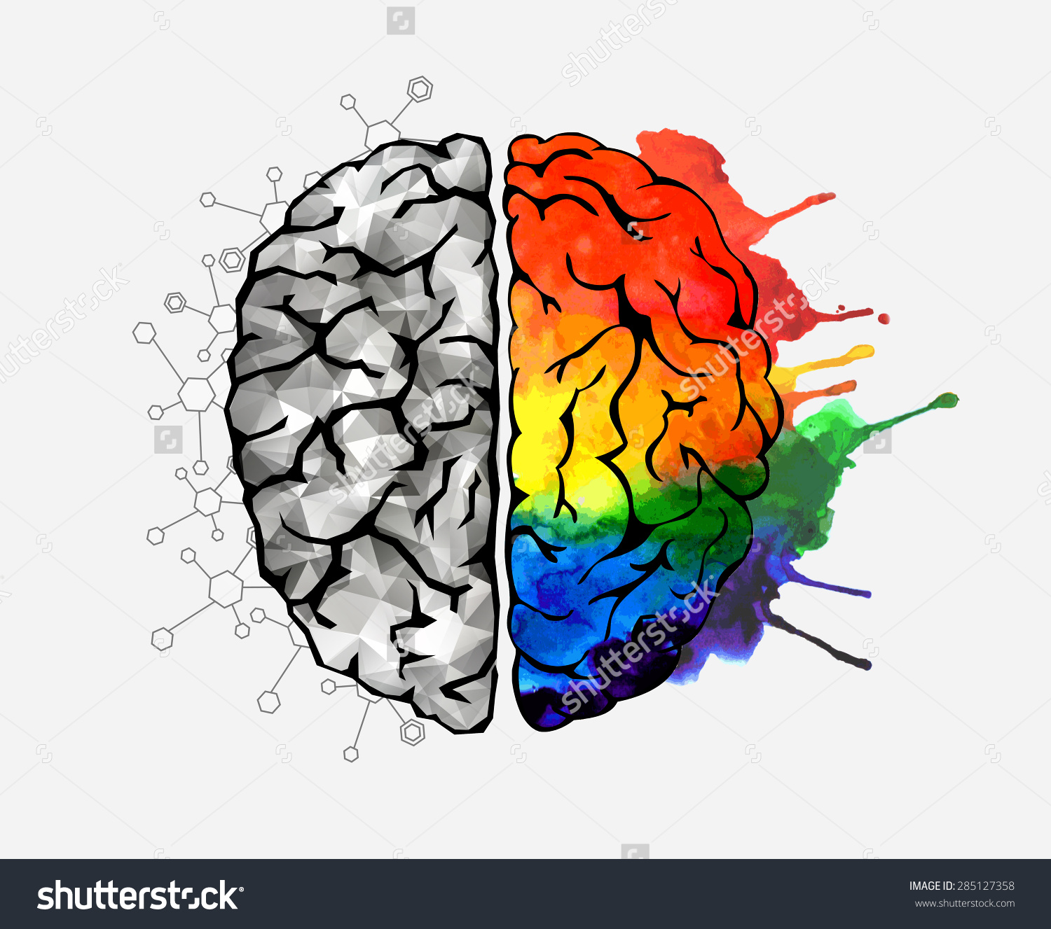 Creative Concept Human Brain Left Right Stock Vector 285127358.