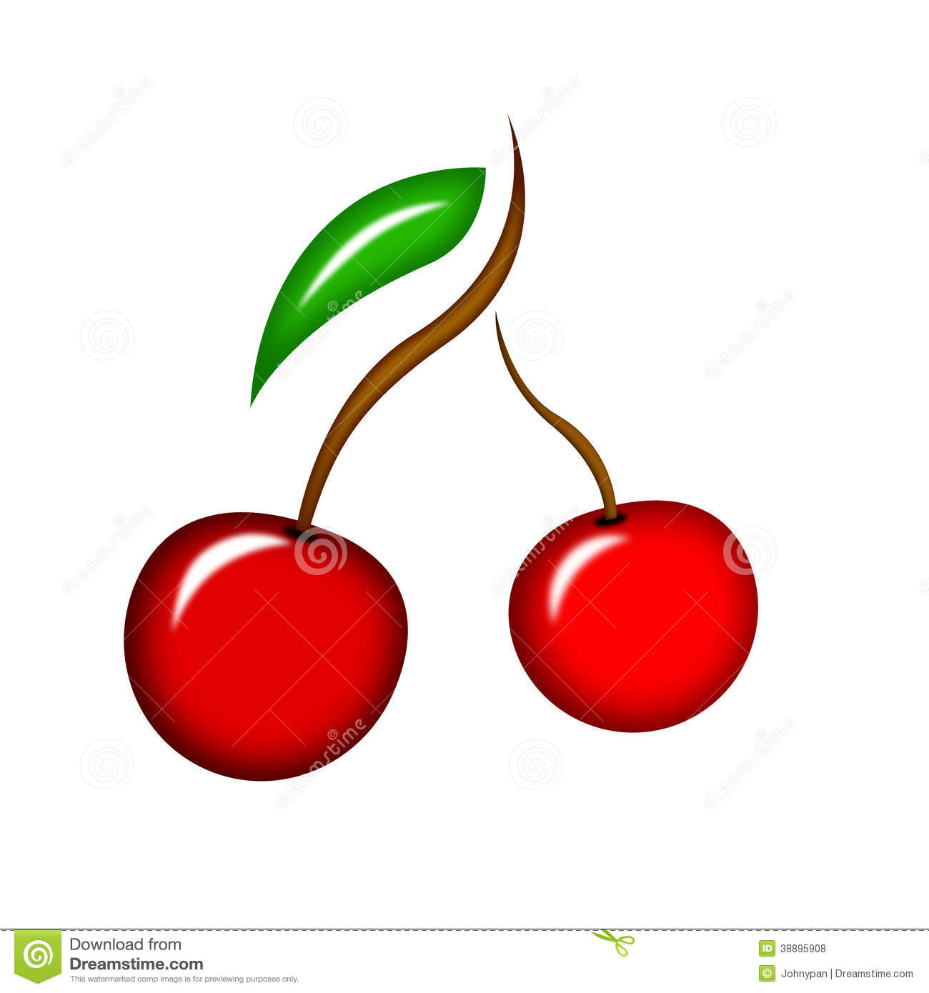 Illustration Of Cherry Fruit Icon Clipart Stock Images.