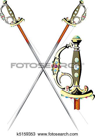 Clipart of two crossed ceremonial sword k5159353.