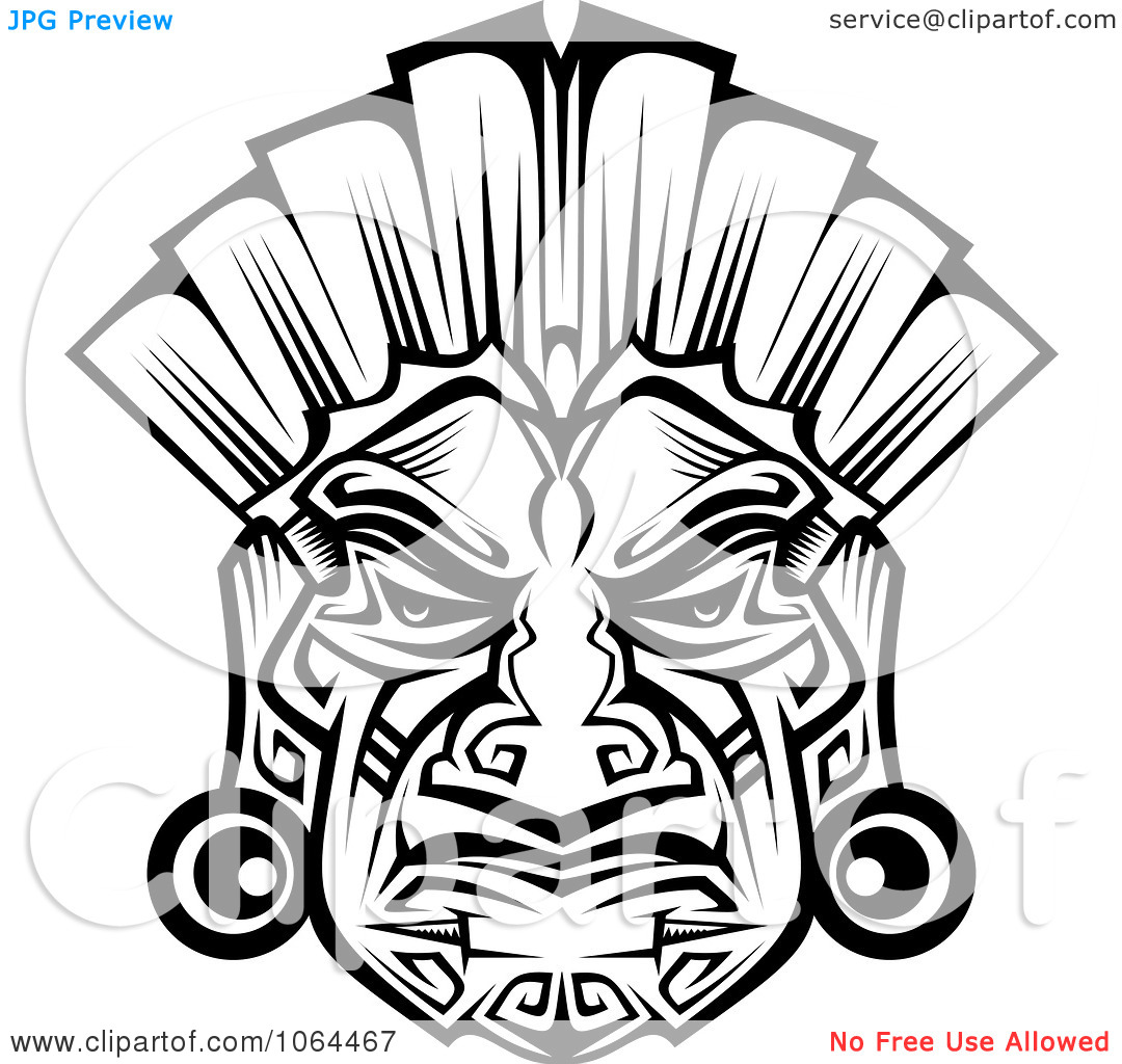 Clipart Ceremonial Mask In Black And White 2.