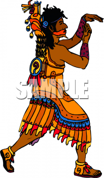 Clipart Picture of a Man Doing an Indian Ceremonial Dance.