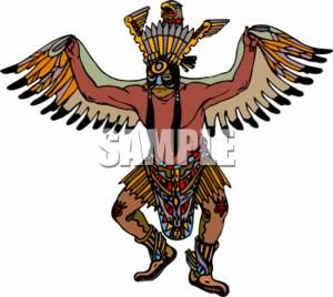 Clipart Picture of a Native American Doing a Ritualistic Dance.