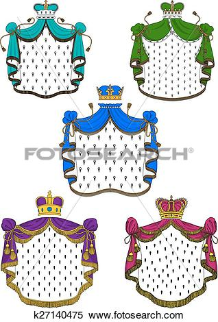 Clipart of Colorful ceremonial royal mantles and crowns k27140475.