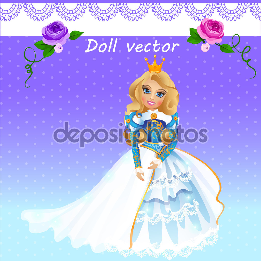 Doll Queen in ceremonial dress — Stock Vector © Anton_Lunkov #88197446.