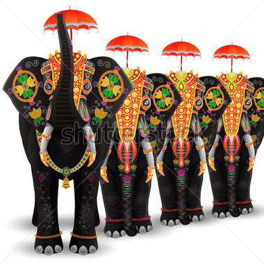 Elephant in a dress clipart.