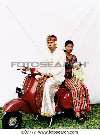 Picture of Indonesia, Bali, Ubud, Balinese wedding couple in.