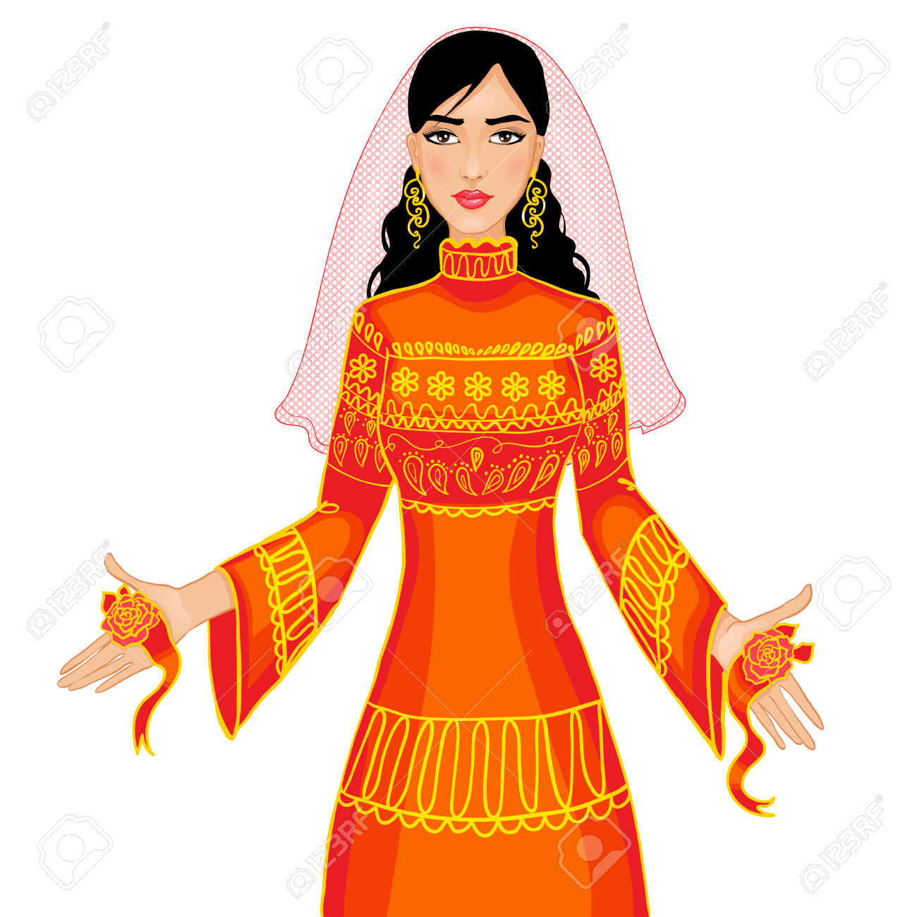 Vector Image Of Ceremony At Henna Night, Kina Gecesi, A Bride.