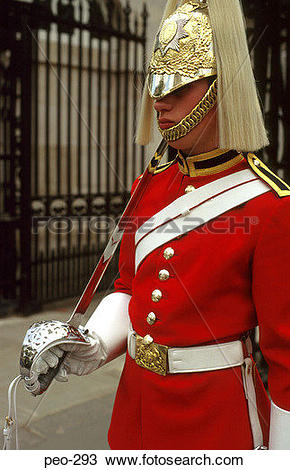 Stock Photo of Coldstream Guardsman in Ceremonial Dress London UK.