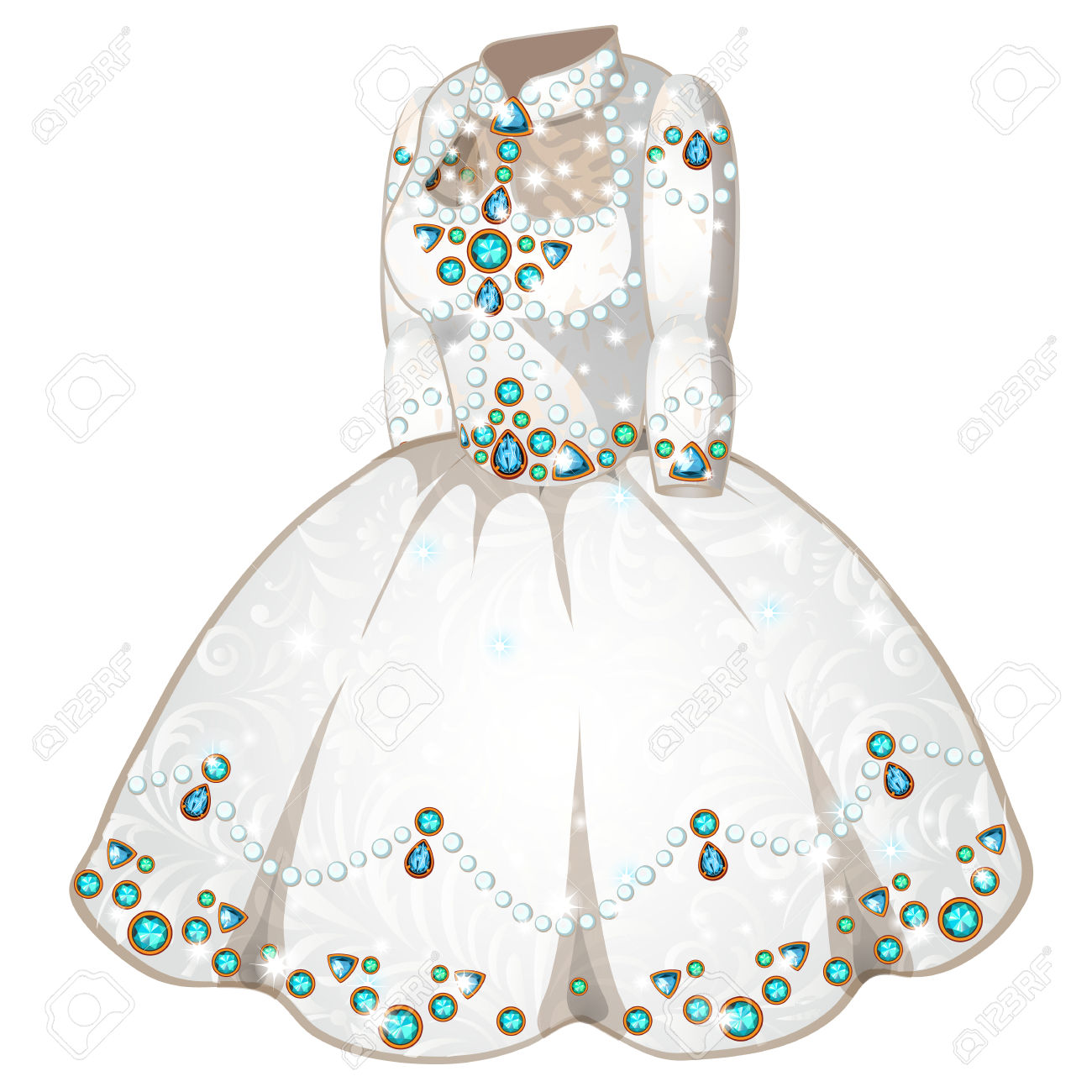 White Wedding Or Ceremonial Dress Of Princess Inlaid With Precious.