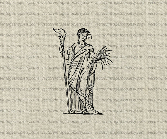Ceres Goddess Vector Clip Art Graphic Instant by vectorvintageshop.
