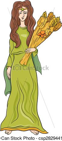 Ceres goddess color clipart.