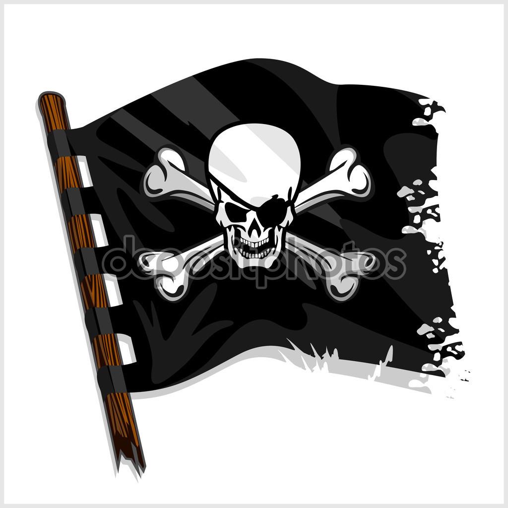 Černá pirátské vlajky s lebkou a kostí — Stock Vektor © Digital.