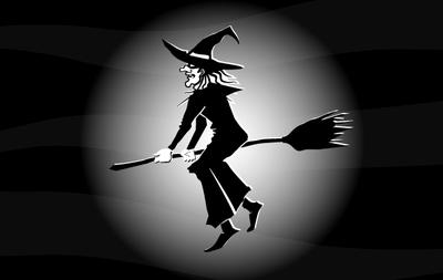 Létající čarodějnice černá & bílá, Obrázek.