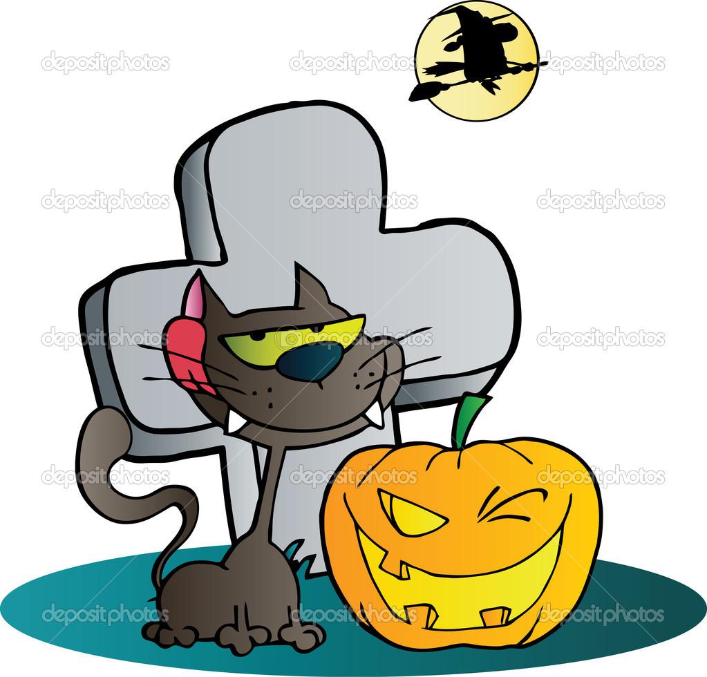 Clipart černá kočka a mrkl halloween jackolantern dýně náhrobek.