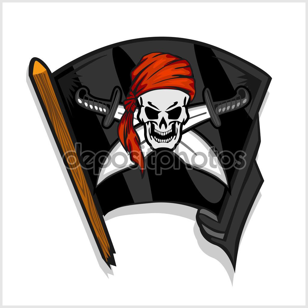 Černá pirátské vlajky s lebkou a kříž meče — Stock Vektor.