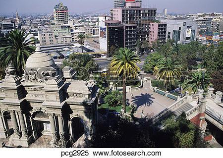 Stock Image of View from Cerro Santa Lucia Santiago Chili. pcg2925.