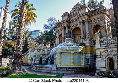 Stock Photographs of Cerro Santa Lucia in Downtown Santiago, Chile.