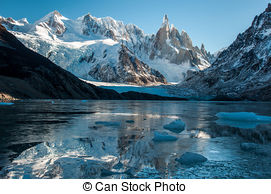 Pictures of Frozen lake reflection at the Cerro Torre, Fitz Roy.
