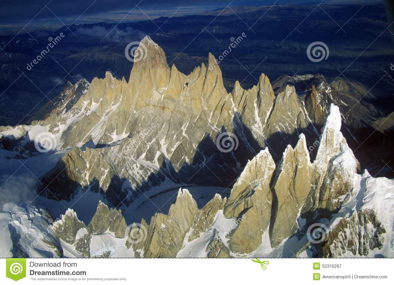 Aerial View At 3400 Meters Of Mount Fitzroy, Cerro Torre Range And.